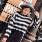 *魔法之城*LA366秋冬裝新款黑白拼色條紋針織衫女百搭套頭毛衣