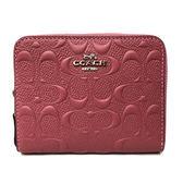 【COACH】經典浮雕C LOGO 皮革ㄇ型拉鍊短夾零錢包(乾燥玫瑰)
