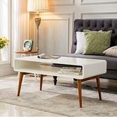 E-home Luxi路希實木開放收納咖啡桌-白色