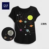 Gap女童 雙面亮片圖案短袖T恤 376102-正黑色