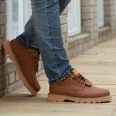 男士大頭皮鞋英倫休閒厚底防滑低筒馬丁靴工裝男鞋加棉戶外工作鞋