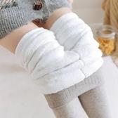 日系豎條紋保暖打底褲一體連腳顯瘦棉淺灰色連褲襪加絨特厚秋冬女