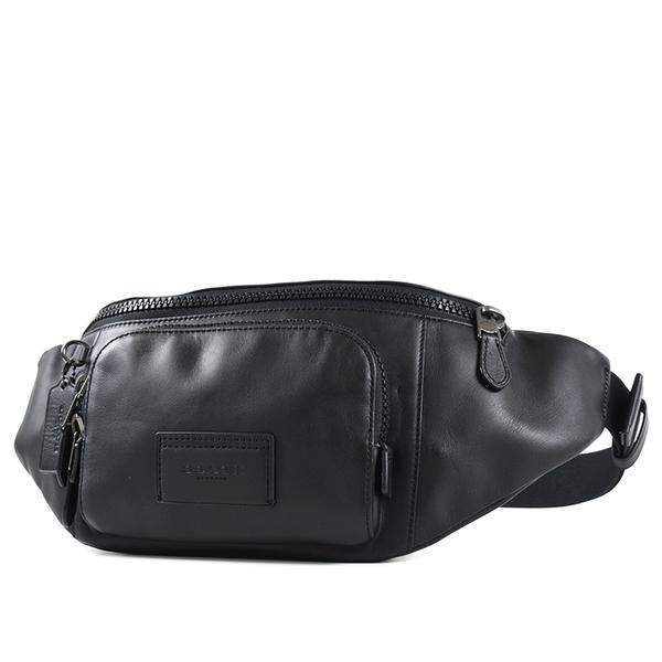 美國正品 COACH 男款 小牛皮雙層拉鍊置物單肩/腰包-黑色【現貨】