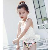 新款女童蕾絲分體泳衣 網紗鏤空日系小女孩泳衣 碎花小公主兒童泳衣