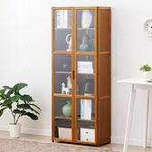 楠竹帶門置物櫃-雙門六層60cm 透明櫥窗書櫃 帶門收納櫃【Y10238】快樂生活網