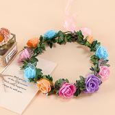 [彩色玫瑰花 人造花髮帶 仿真花花圈 花冠假花環] 婚禮小物 生日禮物 求婚&畢業表演花禮