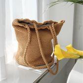 ins爆款日韓風范簡約百搭棉繩手工草編包水桶編織包沙灘包 卡米優品