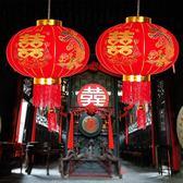 結婚慶喜字燙金絨布大紅燈籠防水掛飾裝飾用品