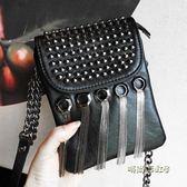 手機包女包包2019韓版新款鉚釘流蘇包鏈條手拿包迷你包單肩斜挎包「時尚彩虹屋」
