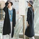 外套-黑色棉針織中長版毛衣/設計家 Z8937