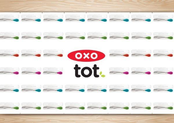 OXO Tot 不鏽鋼軟性餵食湯匙+外出收納盒(火焰橘)