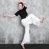 新款現代舞練功褲棉絲麻開叉闊腿褲古典舞民族舞錶演舞蹈演出服裝