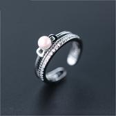戒指 925純銀 珍珠-精緻復古生日情人節禮物女開口戒73dt292【時尚巴黎】