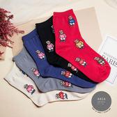現貨✶正韓直送【K0278】韓國襪子滿版美國小熊中筒襪 韓妞必備 百搭款 素色襪 免運 阿華有事嗎