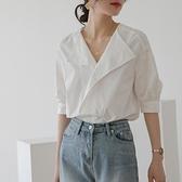 短袖襯衫 冷淡風襯衣設計感小眾白色襯衫女新款2021年夏季法式短袖復古上衣 韓國時尚週