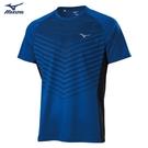 MIZUNO 男裝 短袖 T恤 吸汗快乾 合身版型 線條 深藍【運動世界】K2TA100222