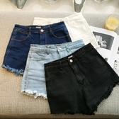 DE shop - 韓版高腰牛仔短褲 牛仔褲 短褲 純色 鬚鬚 - A-1103