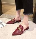 女鞋35-40 2020韓版時尚百搭尖頭馬銜扣中跟穆勒鞋 半拖鞋~4色