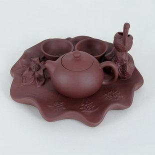 紫砂茶具套裝 一壺兩杯帶茶盤