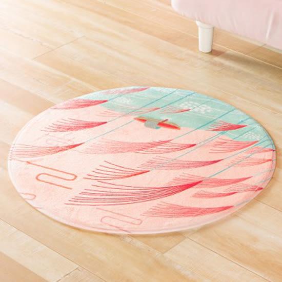 ✭米菈生活館✭【P61】圓形法蘭絨印花地墊 浴室 簡約 防滑墊  腳墊 地毯 客廳 門墊 臥室 防滑