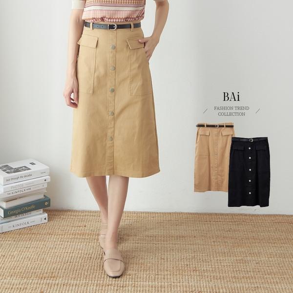 大口袋排釦開叉附皮帶長窄裙M-L號-BAi白媽媽【310751】