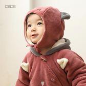 秋冬男女寶寶珊瑚絨帽子嬰兒保暖套頭護耳帽子 薇薇
