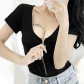 性感顯瘦短款修身圓領低胸大領口短袖t