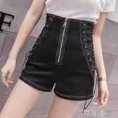 短褲短褲女高腰春夏韓版時尚個性綁帶黑色顯瘦外穿熱褲町目家