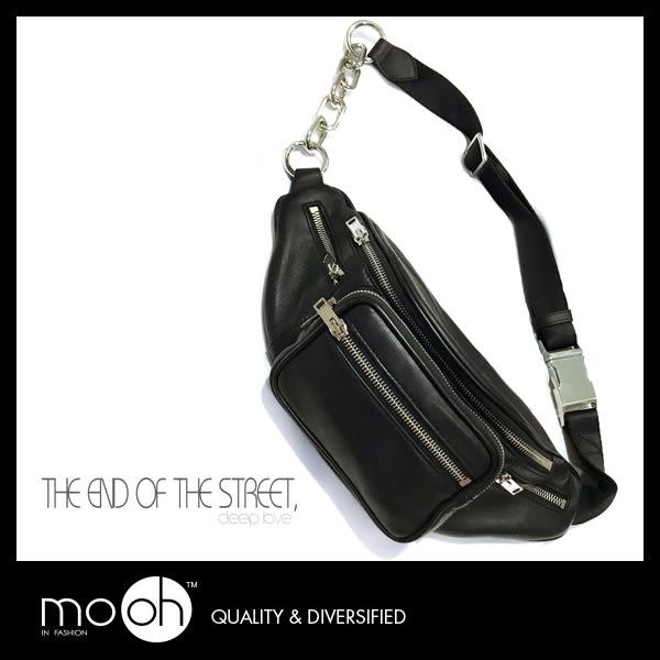 側背斜背包 胸包腰包 歐美時尚鏈條真皮小包  mo.oh (包包配件)