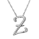 項鍊 925純銀 鑲鑽吊墜-Z字母生日情人節禮物女飾品73dj35【時尚巴黎】