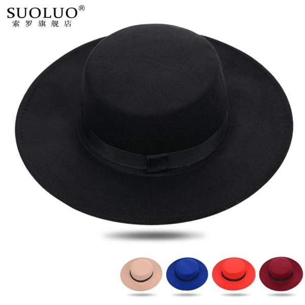 紳士帽 韓版大帽檐禮帽男女春秋英倫寬檐爵士帽復古紳士平頂黑色毛呢帽子 小宅女