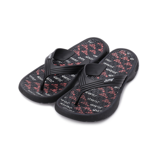 JUMP 印花夾腳拖鞋 黑紅 JM067 男鞋