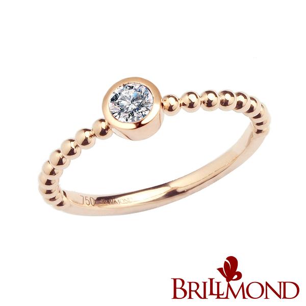 鑽石戒指 BRILLMOND JEWELRY 風采18K玫瑰金美鑽戒(10分18K金台)