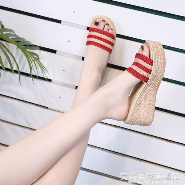 拖鞋女夏外穿韓版百搭高跟厚底鬆糕一字拖時尚厚底楔形女士涼拖鞋 完美居家生活館