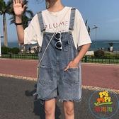 學院風韓版牛仔吊帶褲子高腰法式背帶褲女寬松潮【樂淘淘】