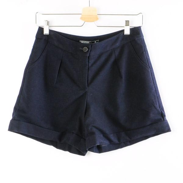 【MASTINA】復古反摺短褲-藍  秋裝限定嚴選