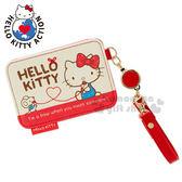 〔小禮堂〕Hello Kitty 伸縮票卡夾《米紅.紅線.弗蘭多.坐姿》附腕繩 4930972-44637