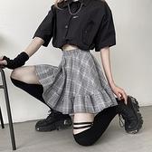 S-XL大碼高腰格子鬆緊半身裙a字短裙女工裝半身裙 8158 3F073 胖妹大碼女裝
