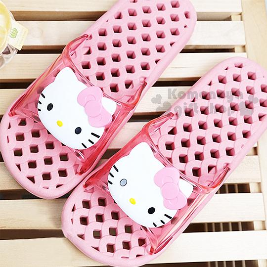 〔小禮堂韓國館〕Hello Kitty 成人浴室拖鞋《26cm.粉.2D大臉》素描系列 8805830-08997
