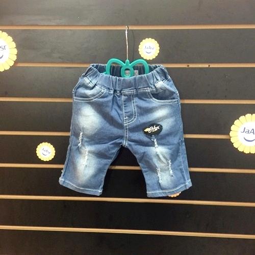☆棒棒糖童裝☆(86206)夏男童女童鬆緊腰磨破貼布牛仔褲 5-15