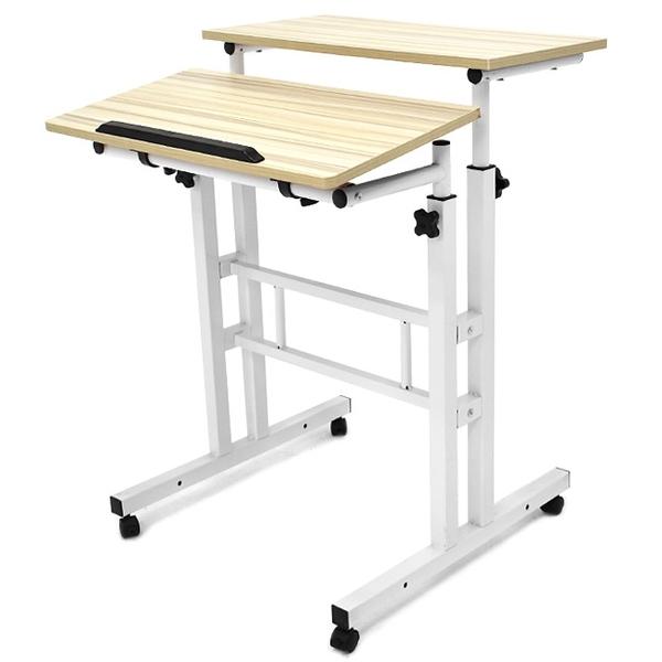 多功能雙桌面電腦桌(含移動輪)調整高低書桌.懶人桌床邊桌.升降桌學習桌用餐桌.工作桌筆電桌