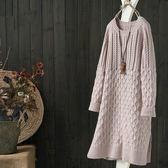 麻花絞紋中長版寬鬆套頭毛衣裙針織衫/設計家Y1585