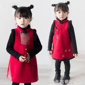 女童拜年服搖粒絨新款冬裝女寶寶新年裝刺繡民族風背心裙旗袍   卡布奇諾