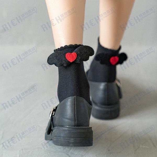 洛麗塔lolita日系可愛翅膀中筒襪子白色黑色泡泡口jk制襪