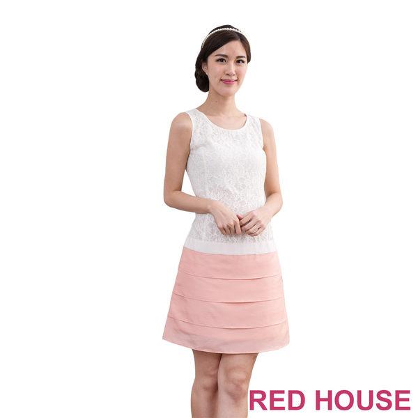 【RED HOUSE-蕾赫斯】無袖蕾絲蛋糕裙洋裝(共三色)