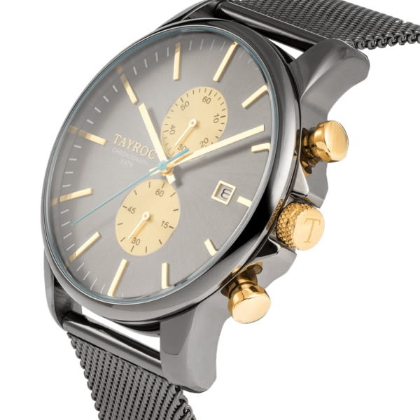 【台南 時代鐘錶 TAYROC】英國簡約現代風 米蘭編織計時腕錶 TXM095 黑鋼/金 42mm