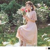 《DA7257-》純色透膚蕾絲拼接腰封修身短袖傘襬洋裝 OB嚴選