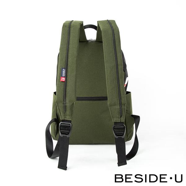 【BESIDE-U】 HALCYON系列實用經典休閒後背包 - 橄欖綠