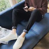 秋冬款黑色加絨牛仔褲男修身加厚韓版潮流青年顯瘦小腳 歐亞時尚
