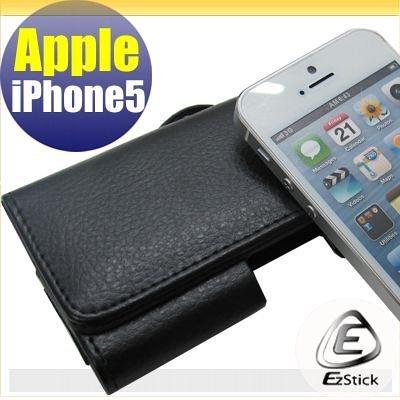 【EZstick】APPLE IPhone 5 適用 荔枝紋腰掛磁扣全包覆皮套